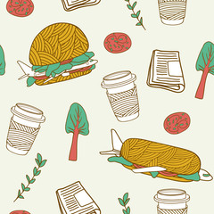 Yummy travel. Cartoon seamless vector pattern