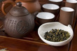 Tea set ready for traditional Chinese tea ceremony close up