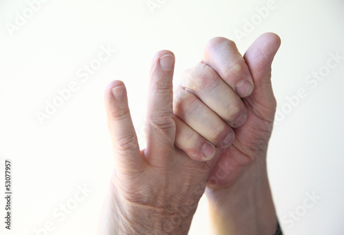 man with sore fingers