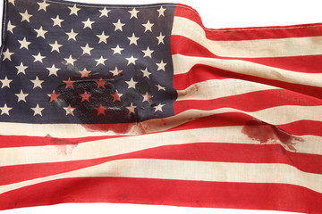 American flag with bloodstains