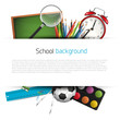 School supplies on white background with place for text