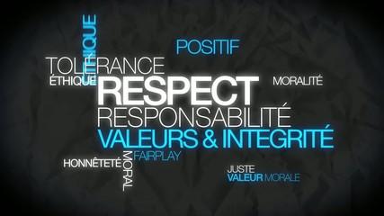 Respect tolérance valeurs nuage de mots animation