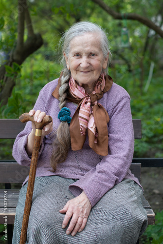 old grandmother with a long braid