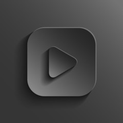 Play icon - media player icon - vector black app button