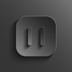 Pause icon - media player icon - vector black app button