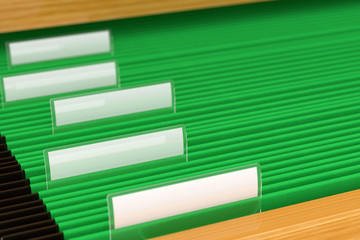 Green File Folders with shallow depth of field