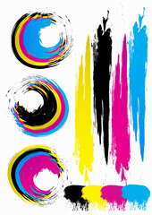 Multi-colored spots. CMYK