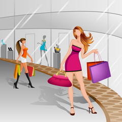 vector illustration of women doing shopping in mall