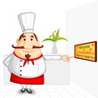 vector illustration of chef welcoming in restaurant