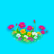 vector illustration of flower design against abstract background