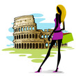 vector illustration of woman infront of Colosseum in Rome