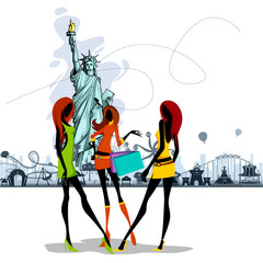 vector illustration of women in front of Statue of Liberty
