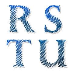 Doodle scribble ballpoint alphabet letters RSTU