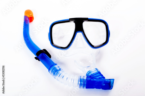 Blue diving goggles with snorkel