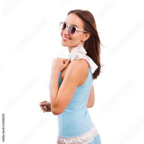 attraktive junge Frau im Sommerkleid