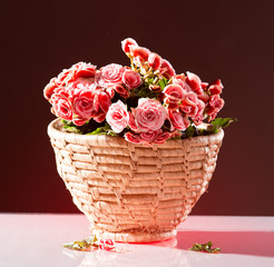 Pink begonia in basket