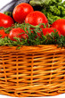 Closeup of fresh vegetables with dew in basket