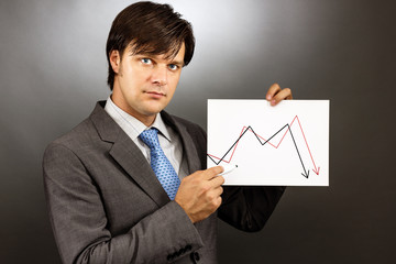 Businessman drawing a falling graph of stock market
