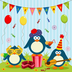 three cute penguins celebrate birthday - vector illustration