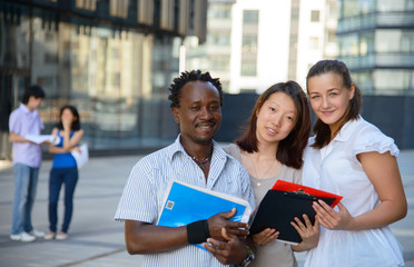 Portrait of african, asian and european students