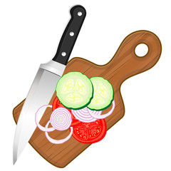 Chopping board and vegetables