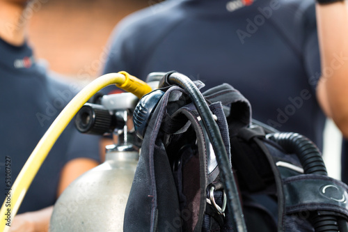 divemaster and students at the diver Course on holiday wearing a