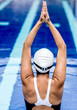 Female swimmer stretching