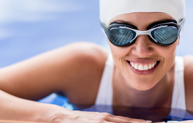 Female swimmer smiling