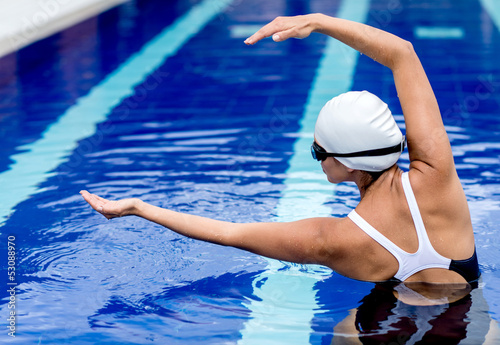 Synchronized female swimmer
