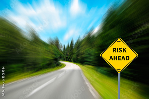 """RISK AHEAD"" sign - Business concept"