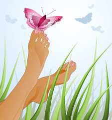 lying on summer field, vector illustration