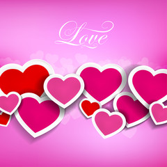 Vector illustration of hearts on a pink background