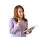 Business Woman with Tablet Gesturing