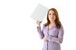 Business Woman Thinking with Blank Card