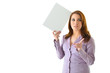 Business Woman Thinking and Pointing with Blank Card
