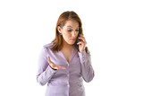 Concerned Business Woman on Talking on Phone