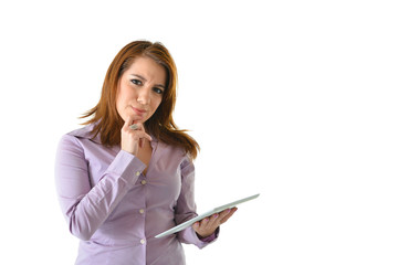 Business Woman Thinking While Holding Tablet
