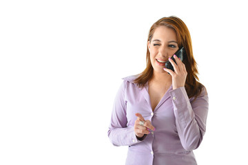 Business Woman on Phone Winking