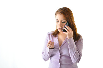 Business Woman on Phone with Serious Expression