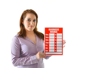 Woman Holding Business Hours Sign