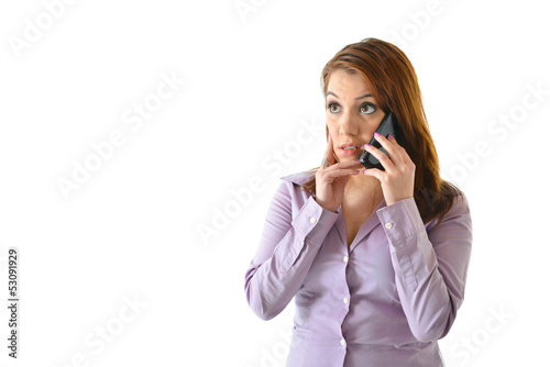 Concerned Business Woman on Phone
