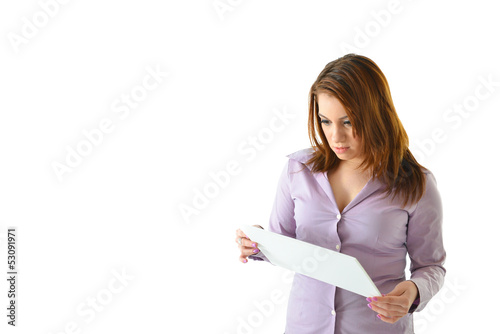 Business Woman Reading Card Serious Expression