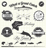 Vector Set: Retro Gone Fishing Labels and Icons