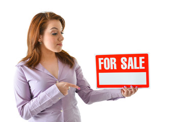 "Sales Person Pointing at ""For Sale"" Sign"