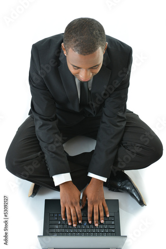 Business Man Working Laptop Sitting on Floor