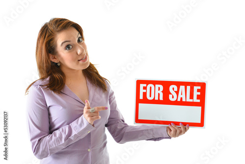 "Sales Person with ""For Sale"" Sign"
