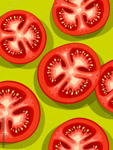 Vector of fresh sliced tomatoes
