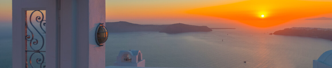 Greece Santorini island in Cyclades, the most famous sunset in t