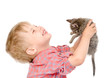 boy with a kitten. isolated on white background