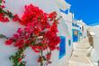 Leinwanddruck Bild - Greece Santorini island in Cyclades, traditional view of white w